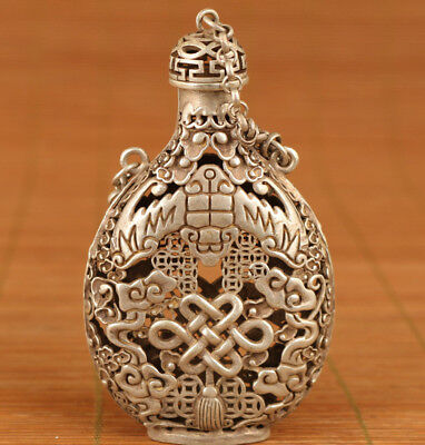 Old Tibet Silver chinese culture rare statue Incense Box Snuff Bottle pendant