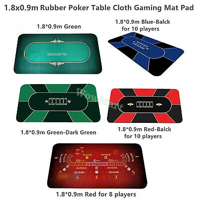 Deluxe 8-10 Player Layout Texas Hold'em Rubber Poker Table Cloth Gaming Mat Pad