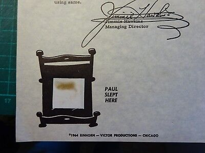 1964 THE BEATLES Original Whittier Hotel Bed Linen Swatch With Certificate Paul
