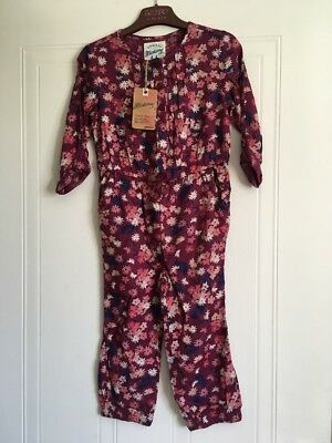Age 3 - 4 Twill Maroon Floral Jumpsuit by Mantaray - New With Tags