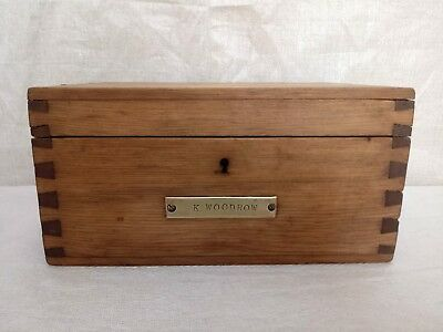 vintage stripped pine wooden desk top study box with key great christmas present