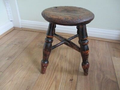 antique Round Wooden Rustic Cracket / Milking Stool. Circa 100 years.