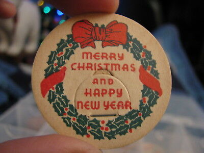 CHRISTMAS Milk Bottle Cap Merry Christmas Happy New Year w/ holly wreath