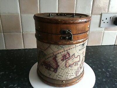 Unusual intage round wooden box with a geographical  theme