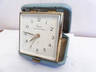 Found* Vintage German  Blue Leather Travel Windup Alarm Clock  Working