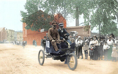 Postcard Late 1890's Gas Powered Tricycle with Tiller Steering Vintage A12