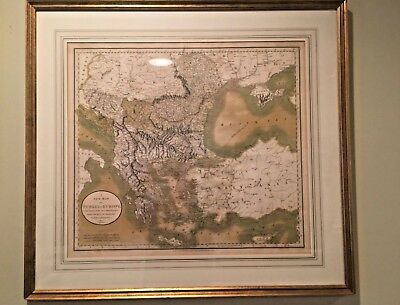 PAIR FRAMED 1801 Engraved Map John Cary TURKEY: ASIA & EUROPE Hand-Color Folios