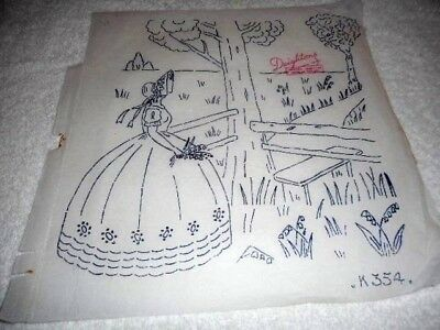 Vintage Embroidery Iron on Transfer-Deightons No. K354- Crinoline Lady / Garden