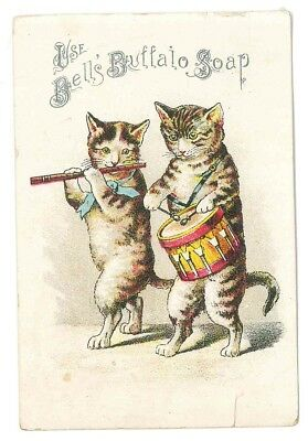 1890s trade card Bell's Buffalo Soap cats playing drum and fife
