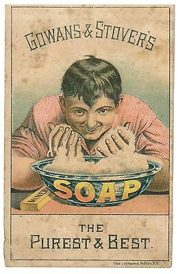 """1880s trade card Gowans & Stover's """"Miner's Soap"""" Williamsport PA"""