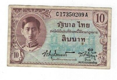 Thailand P-65A  1946  10  Baht  Fine Condition Rare Banknote U.s. Printing!