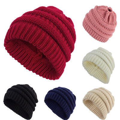 Women's Ponytail Beanie Winter Soft Stretch Cable Knit  Solid High Bun Hat TP