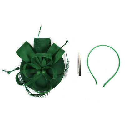 Wedding 1920s Feather Fascinator Headband Hair Clip Headpiece Pillbox Hat