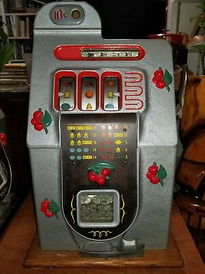 Mills Antique 10 Cent Black Cherry Slot Machine