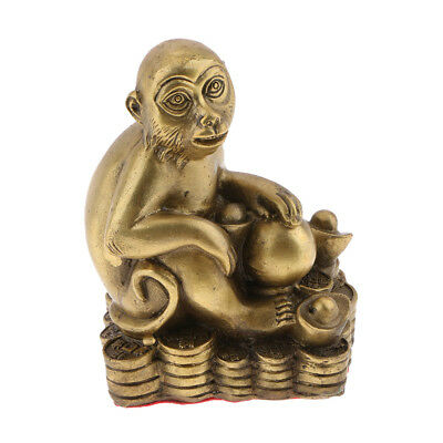 Money LUCKY Chinese Zodiac Animal Statue Monkey Figurine Feng Shui Decor.