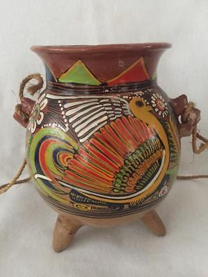 Vintage Mexican Terra Cotta Hand Painted Pottery Hanging Planter Footed