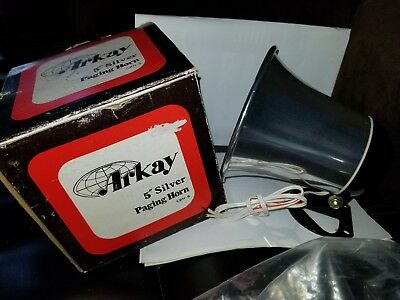 """New in Box Arkay 5"""" Silver Paging Horn CBH-S   10 watts input; 8 ohms"""