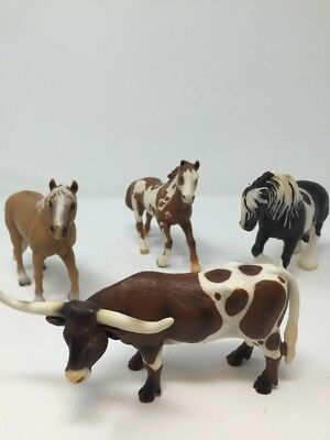 Schleich Horses And Long Horn Bull Lot of 4 Used Condition