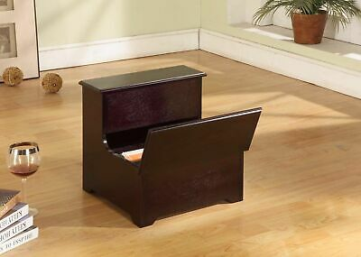 Kings Brand Cherry Finish Wood Bed Bedroom Step Stool With Storage ~New~