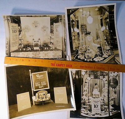 SUPER - 4 Photos Woolworth etc Store Advertising Window NY 1930s Regina Hair Net