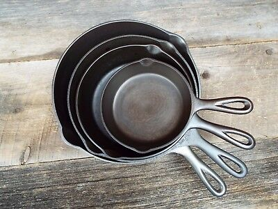 3-Notch Lodge Cast Iron Skillet Set #3, 5, 6, 8  Restored