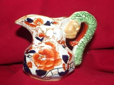 Antique Hydra Dragon Figural Handle Art Pottery Ironstone Pitcher Jug