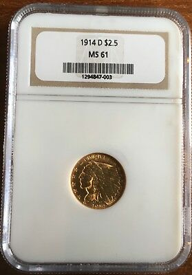 1914-D $2 1/2 INDIAN GOLD NGC MS61 ***FREE*** s/h