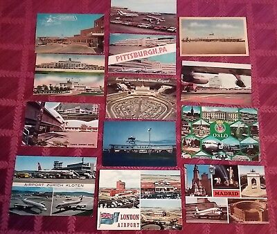 Vintage Lot 12 Airport Postcards Props & Jets
