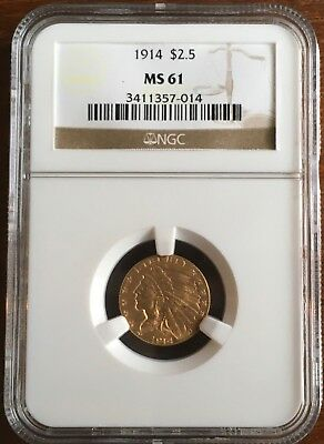 1914 $2 1/2 INDIAN GOLD NGC MS61 ***FREE*** s/h