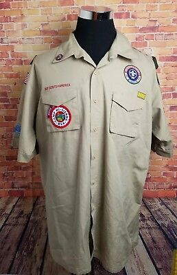 Boy Scouts of America Mens XL Uniform Button Down Shirt w/ Patches San Diego
