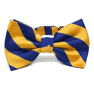 Royal Blue and Golden Yellow Striped Bow Tie