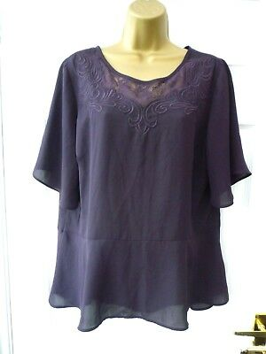BHS Ladies Size 16 Purple Lace Embroidered Smart Work Party Tunic Blouse Top