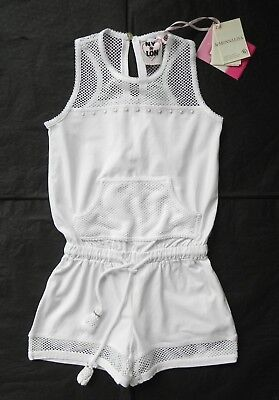 Monnalisa Girl's White NY & LION Playsuit Summer Jumpsuit Age 6 5-6-7y