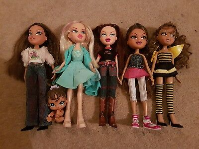 Bundle Of 5 Girl Bratz Dolls + Baby In Clothes & Shoes Bumble Bee Rock Angel