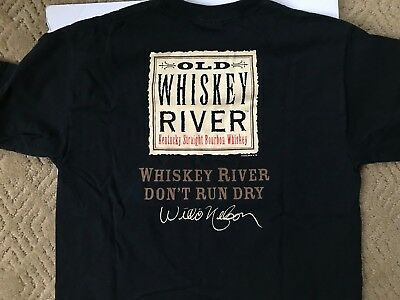 OLD WHISKEY RIVER Kentucky Bourbon Double-Sided T-Shirt Willie Nelson Large 2006