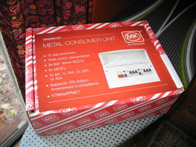 MK Metal Consumer Unit, K7664sRPMET Fully Populated Latest 17th Edition: Suffolk