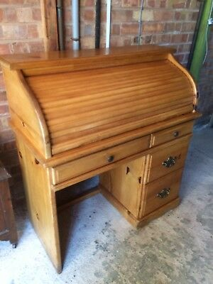 """Desk, old pine roll top. Ideal for home or shop.41""""wide, 44""""high, 19"""" deep."""