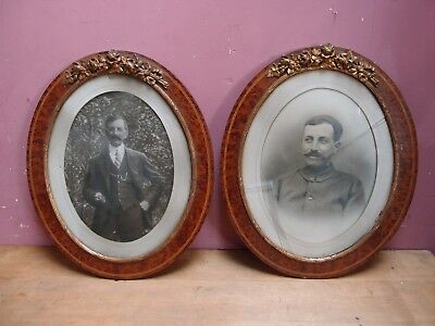 PAIR EDWARDIAN OVAL PICTURE FRAMES AMBOYNA WOOD WITH ORMALOU BRASS MOUNTS c1900