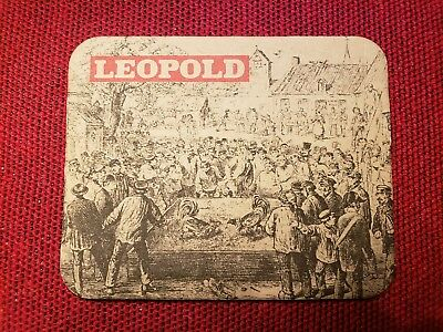 Vintage Bar Mat Coaster Leopold Beer Brewing Brussels Cock Fighting Advertising
