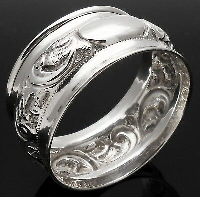 Ornate Repousse Napkin Ring - Sterling Silver - Crisford & Norris
