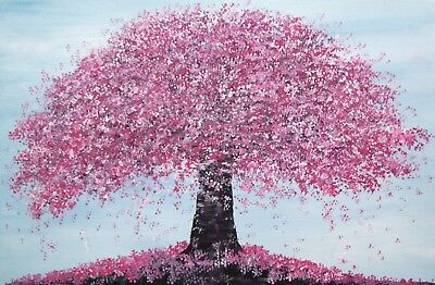 Original Large Contemporary Cherry Blossom Landscape On Canvas Painting