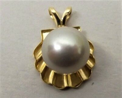 Vtg 14K Gold Large Cultured Pearl Pendant Conch Clam Shell Figural Estate