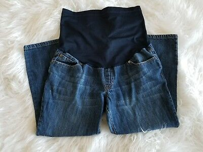Liz Lange Maternity denim jeans size 10 cropped capri women's full panel pants