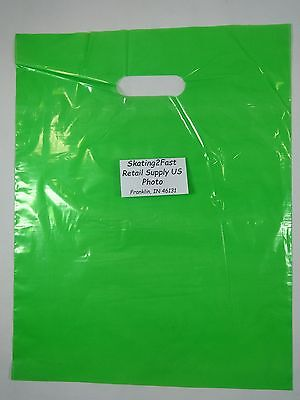 "200 Qty. 12"" x 15"" Lime Glossy Low Density Merchandise Bag Retail Shopping Bags"