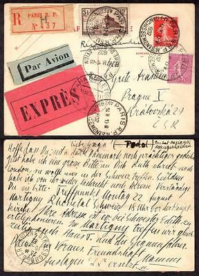 France #250,151 on 90¢ Postal Card Registered Air Mail Express August 11 1932
