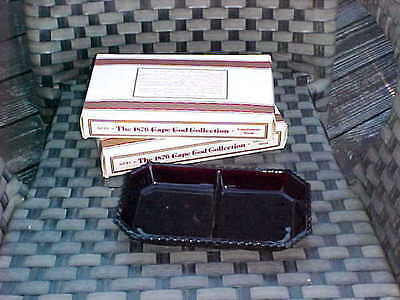 New in Box AVON THE 1876 CAPE COD COLLECTION RUBY..Two DIVIDED CONDIMENT DISHES