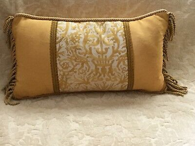 Fortuny  Yellow And White Lumbar Pillow