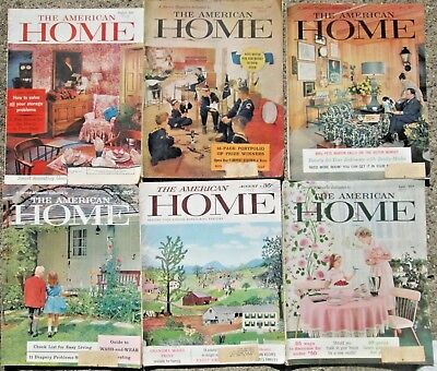 Lot of 6 The American Home Magazines 2-1958 & 4-1959 Great Vintage Ads!