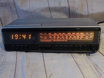 1978er TELEFUNKEN Digitale 101 Electronic LED Clock RADIO Wecker SILBER