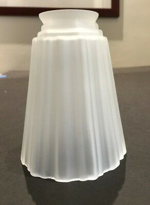 "VINTAGE VIANNE FRENCH FROSTED ART DECO GLASS SHADE 5.5"" High. FLUTED. VG Cond."